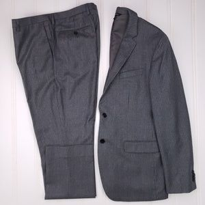 Banana Republic 42L Slim Fit Suit Gray Pinstriped